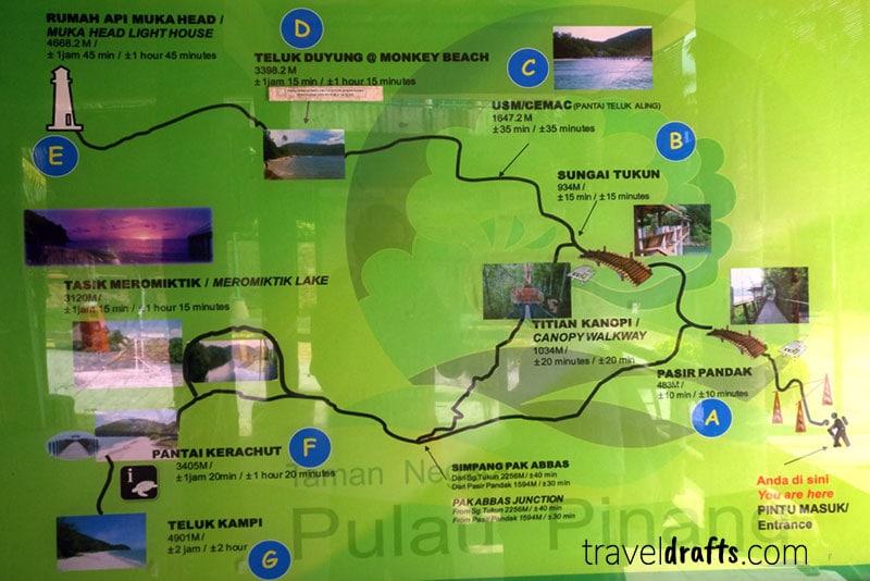 Penang National Park mapa
