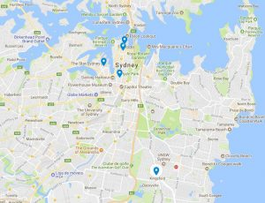 Map of best Japanese restaurants in Sydney