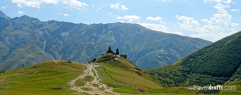 Kazbegi in the Caucasus is one of the most famous things in Georgia