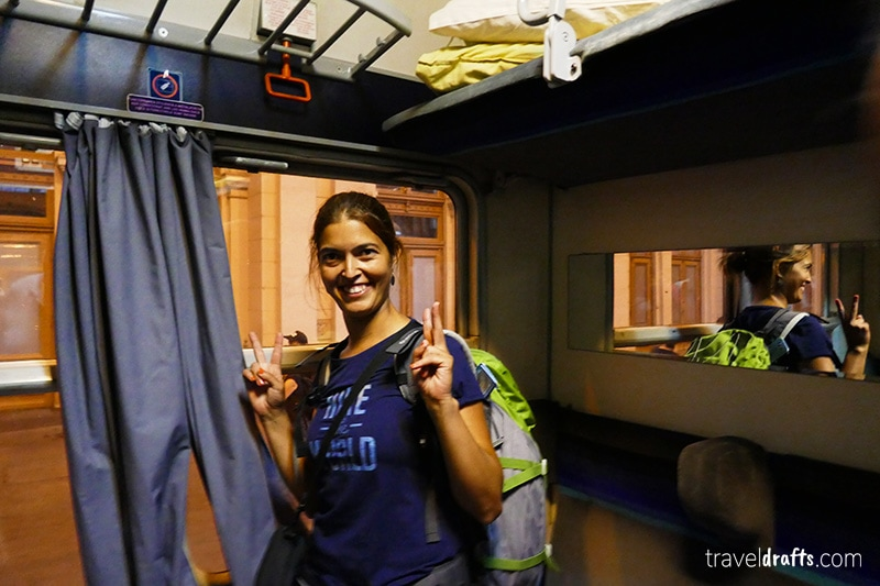 Inside of a 4 berth couchettes in the train Budapest-Bucharest
