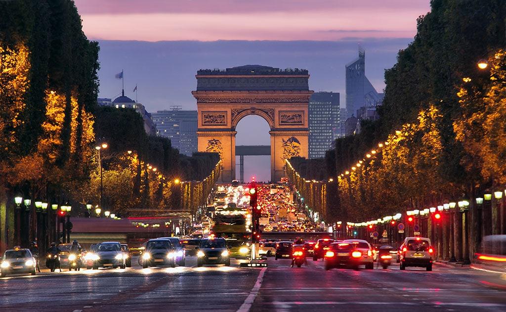 Avenue des Champs-Élysées and the Arc de Triomphe, two famous landmarks in Paris, France