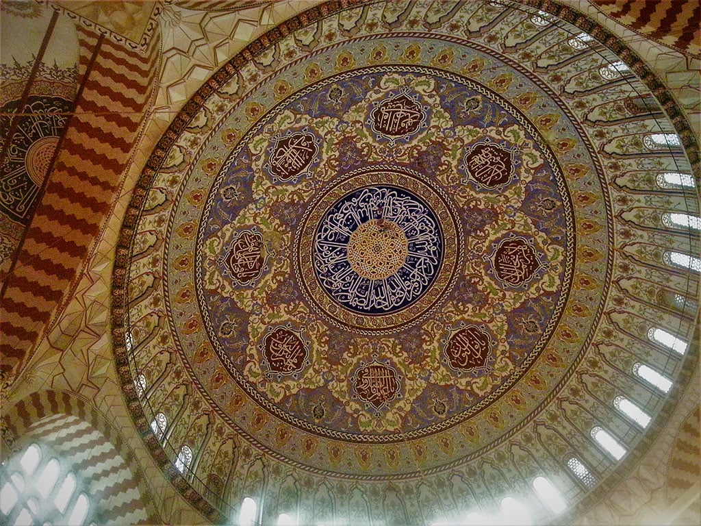 The ceiling of the Selimiye Mosque in Edirne, a famous Turkish monument